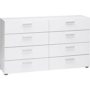 "Double 8-Drawer Dresser White Finish Clothes, Bedding, Linens, Home Decor Display Storage Cabinet Organizer Furniture for Home, Office, Dorm, Apartment, Bedroom-Dimensions:55"" x 15.75"" x 32.25"""