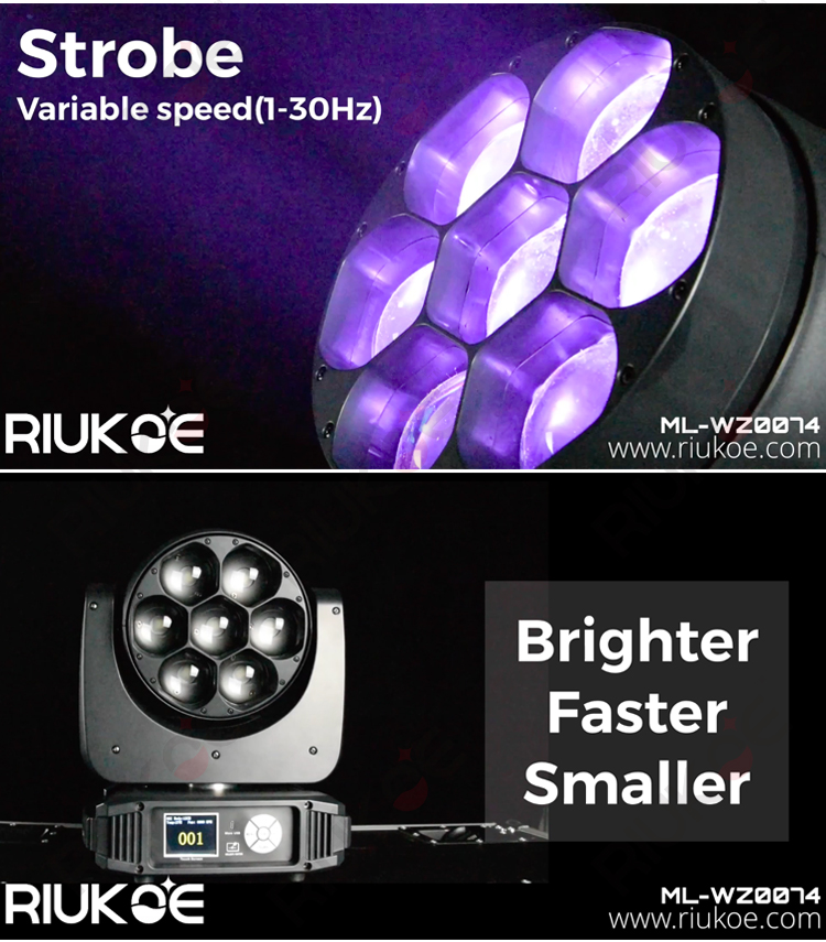 2020 guangzhou lighting led stage light rgbw 4in1 dmx 7pcsx40w zoom moving head