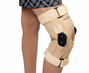12 inch Elastic Knee Brace with Polycentric Hinge - Open Patella for Arthritis, ACL, Running, Basketball,Jogging