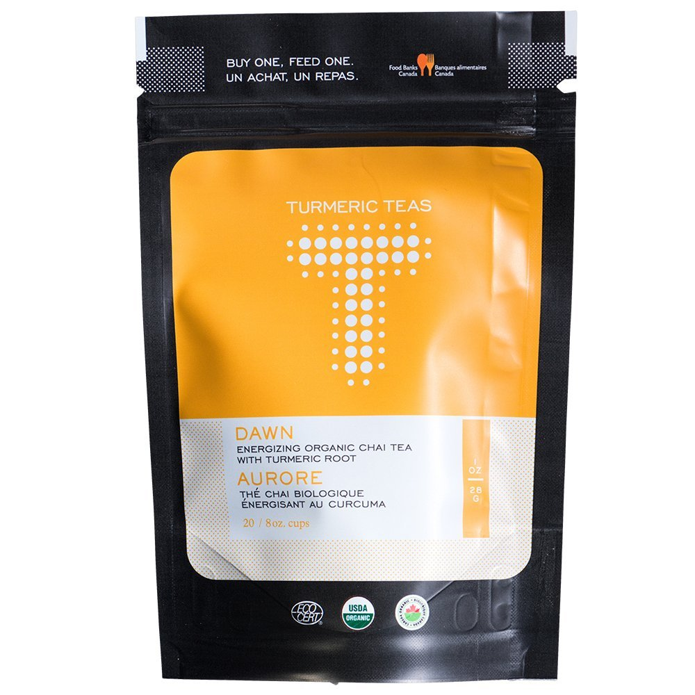 Turmeric Teas Dawn Blend - Energizing Organic Turmeric Chai Tea, Loose Leaf Tea (14-20 Servings)