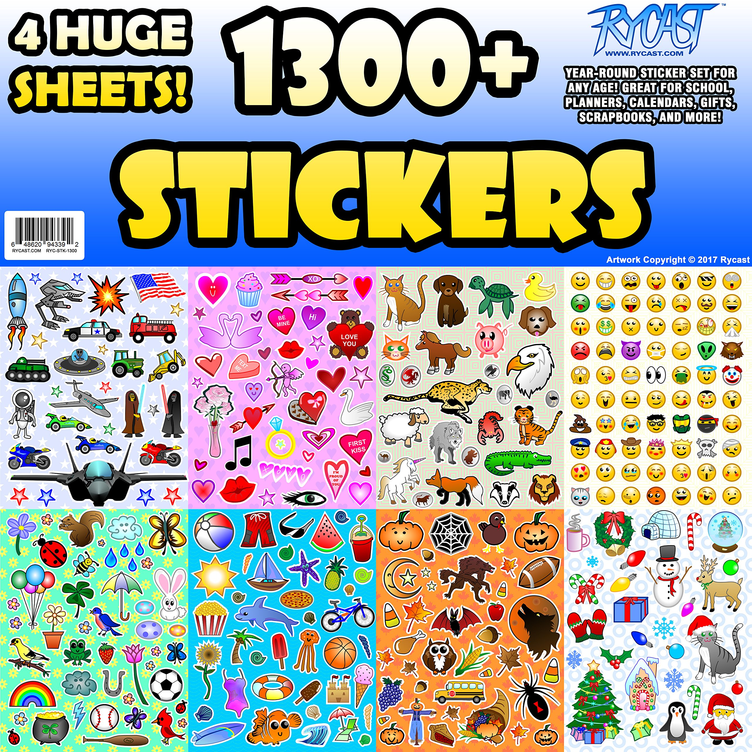Get quotations · sticker sheet assortment set 1300 stickers year round variety pack by rycast