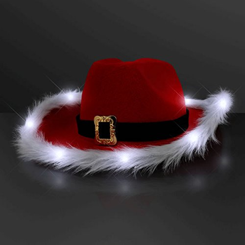 blinkee LED Flashing Christmas Cowboy Red Santa Clause Western Holiday Hat by
