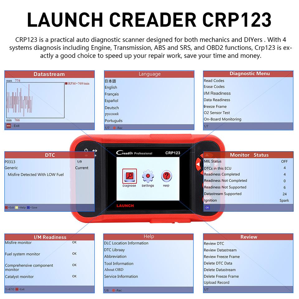 100% 원래 발사 Creader Professional Creader CRP123 자동 코드 리더 출시 CRP123 CRP 123 OBD2 EOBD 스캐너
