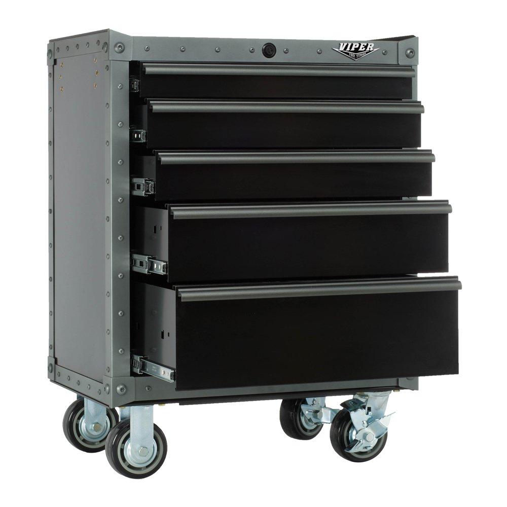Viper Tool Storage, VV2605BLT-R 26-Inch 5-Drawer Rolling Cabinet, Black w/ Rivet Trim