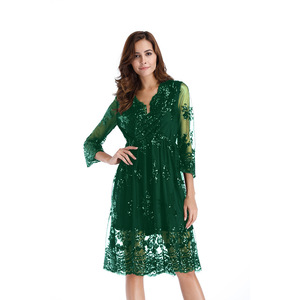 Sexy V-neck new color mesh transparent mid-sleeves metallic sequined elastic waist band lace midi women dress 3229
