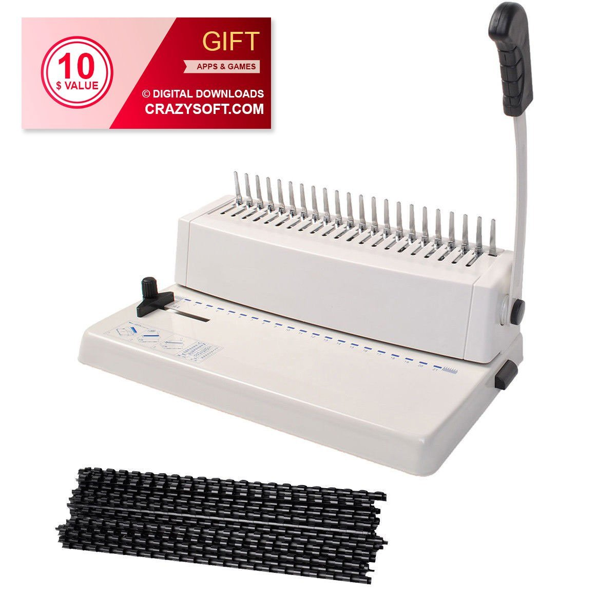 21-Hole 250 Sheets Paper Comb Punch Binder Binding Machine Scrapbook w/200 Combs - By Choice Products