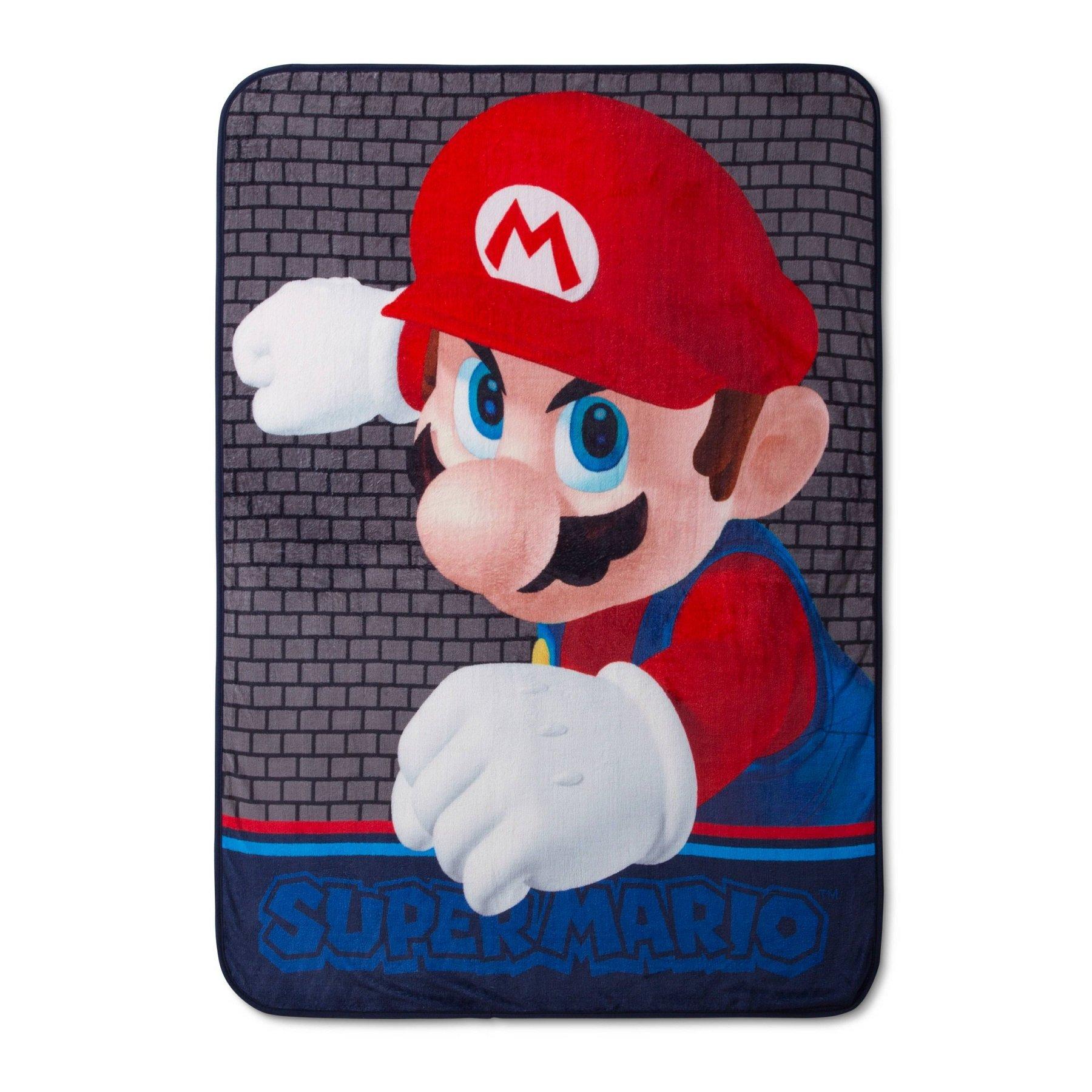 4c2df5f48c Get Quotations · Super Mario Brothers Kids Throw Blanket Plush 46x60