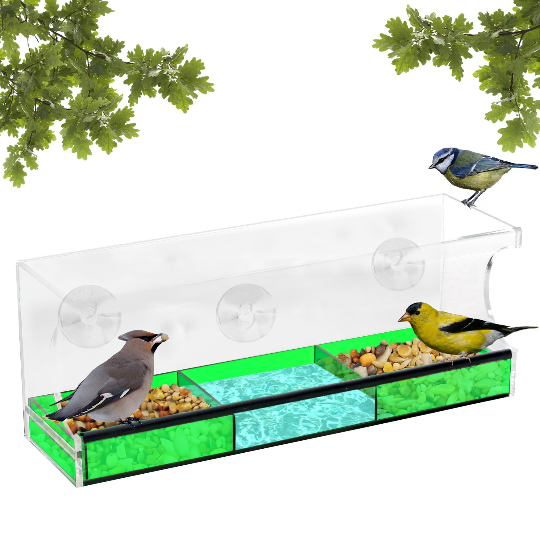 Outdoor Amor Window Bird Feeder With Suction Cups, XL Size U0026 Colored Tray  Attracts Wild
