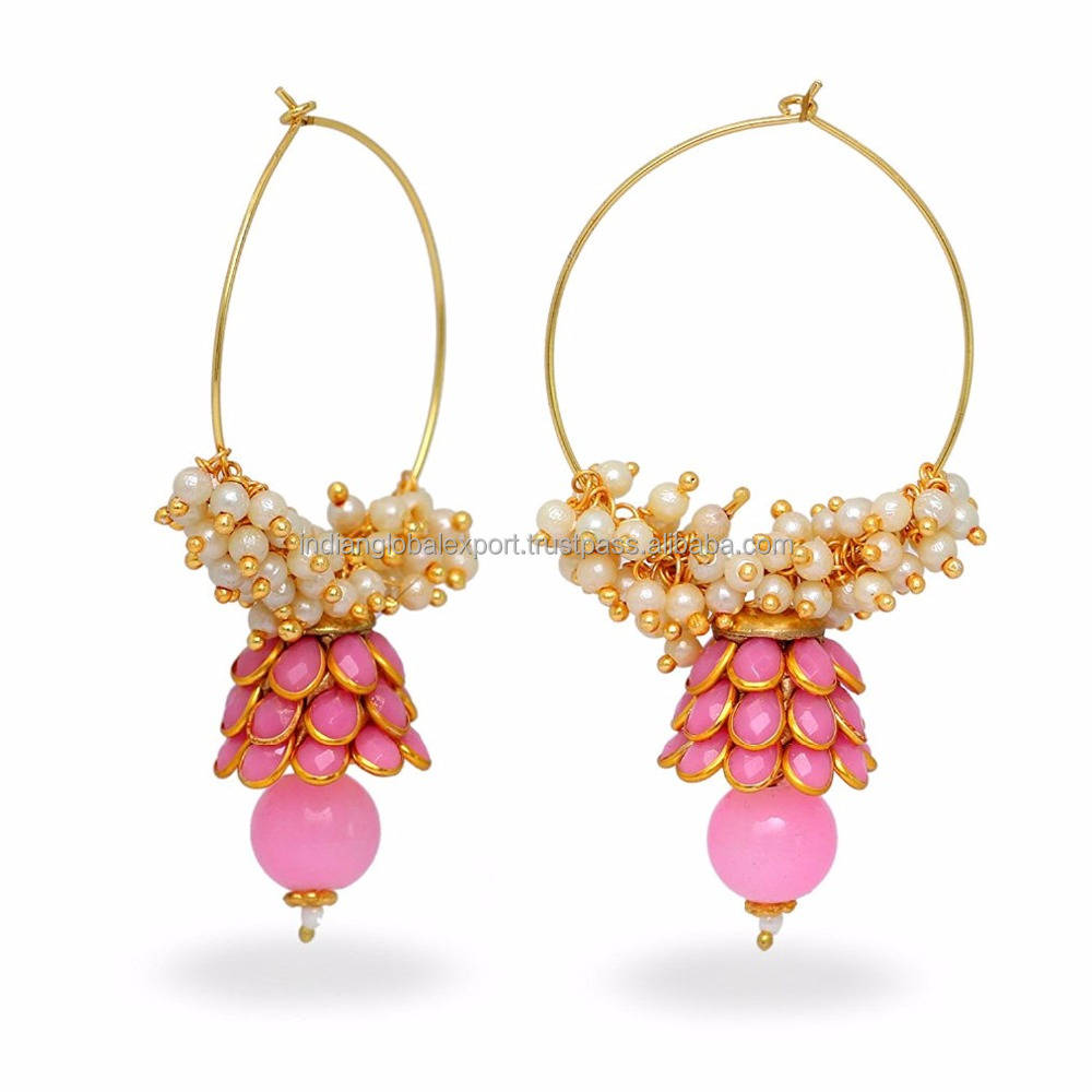 Pink Colour Traditional Ethnic Paachi Earrings For College Girls