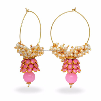 Pink Colour Traditional Ethnic Paachi Earrings For College S