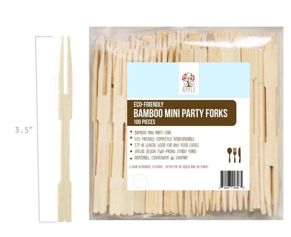 """Bamboo Party Toothpicks for Appetizer, 3.5"""" Mini Two-Prong Forks For Party Buffet, Catering, Cocktail Picks, Fruit Picks (Pack of 100)"""