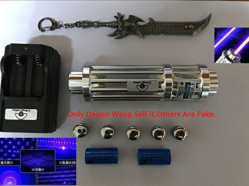 Dequn Wang 1000M High PowerLaser Pointer Blue Lazer Projector Type-1 Powerful 405nm Blue Pen,Light Match Tool With Dequn Wang Logo Keychain As Picture(Only Dequn Wang Sell it,Others Are Fake)