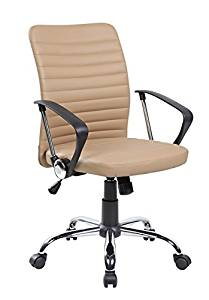 United Seating UOC-8182-BG Economic Modern PU Leather Home Office Desk Chair with Chrome Polypropylene Armrest44; Brown
