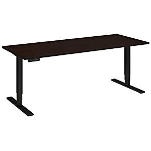 """Bush Sit Stand Desk Dimensions: 72""""W X 30""""D Height 23"""" Low - 49""""H & Operates At Speed Of 1.5"""" Per Second - Mocha Cherry/Black"""