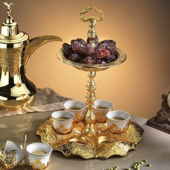 Golden Mirra Cawa Turkish Coffee Cups Set With Hanger