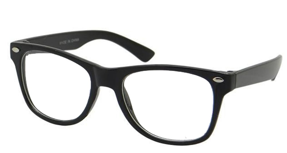 f28d24bc37 Get Quotations · Kids Nerd Glasses Clear Lens Geek Costume Black Frame  Children s (Age ...