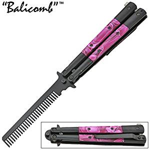 Purple Pearl Bali-Comb Butterfly Knife Practice Trainer Comb