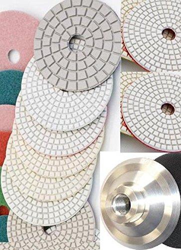 "4 Inch 4"" Diamond Polishing 55 Pad 6 Pieces Glaze Final Buffiing Pad Aluminum 5/8""-11 Thread Back GRANITE Terrazzo Concrete Travertine Stone Glass Marble quartz"