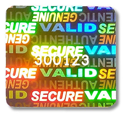 """36x SVAG Hologram Stickers, 1"""" square (24mm) NUMBERED Gold Labels, Tamper-Evident, """"Secure"""", """"Valid"""", """"Authentic"""", """"Genuine"""", Warranty, Security"""