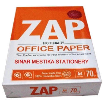 Zap Paper A4 Size 70 GSM Office Paper 500 Sheets Pack of 10