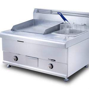 HGG-751 CE& RoHs Heavy Duty Gas Stainless steel CE approved flat griddle with gas /electric fryer meats