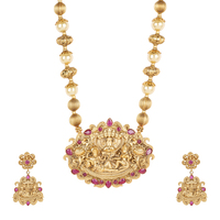 Temple jewelry Mala Style Gold Tone Polki Necklace Pendent set For Women's