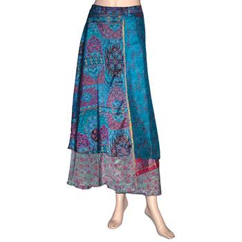 d7c9f9ec27 Wrapskirt silk sari long skirt beach sarong black wrap around dress skirts