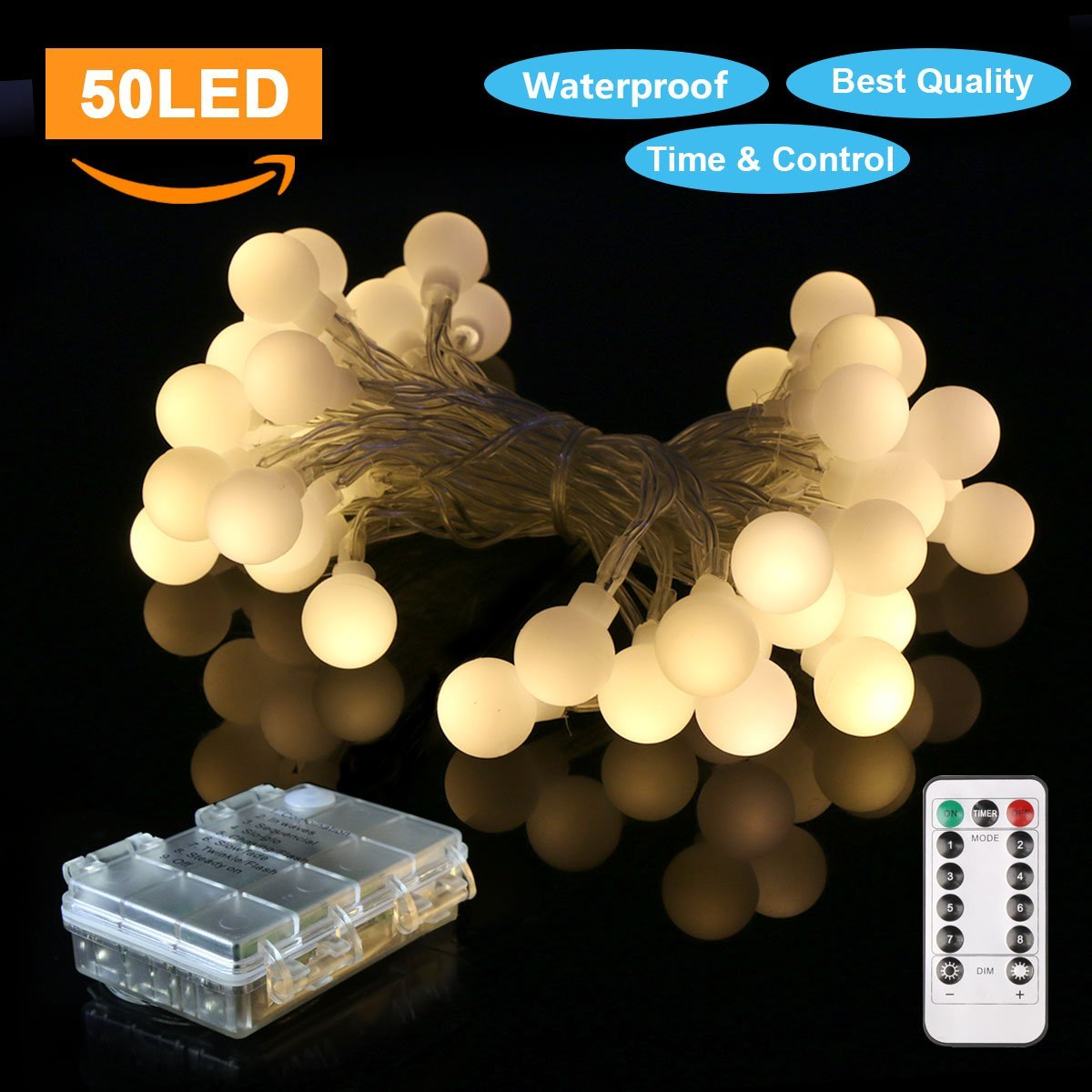 LED Ball String Lights Battery Operated, 16.5ft 50 LED Fairy Lights Battery Pack,Waterproof Globe Light 8 Modes for Home Bedroom Garden Festival Wedding Outdoor Indoor Decoration Use (Warm White)