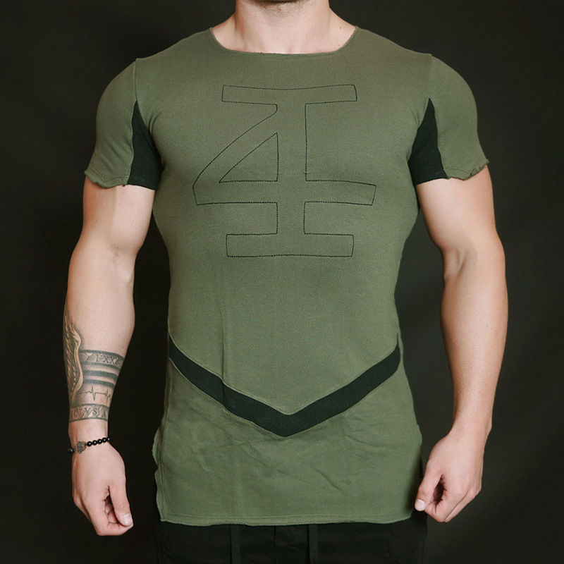f908e0ca Gym Mens Front Flank Solid Color T Shirts Fitness Athletic Muscle-fit  Casual Tee IM
