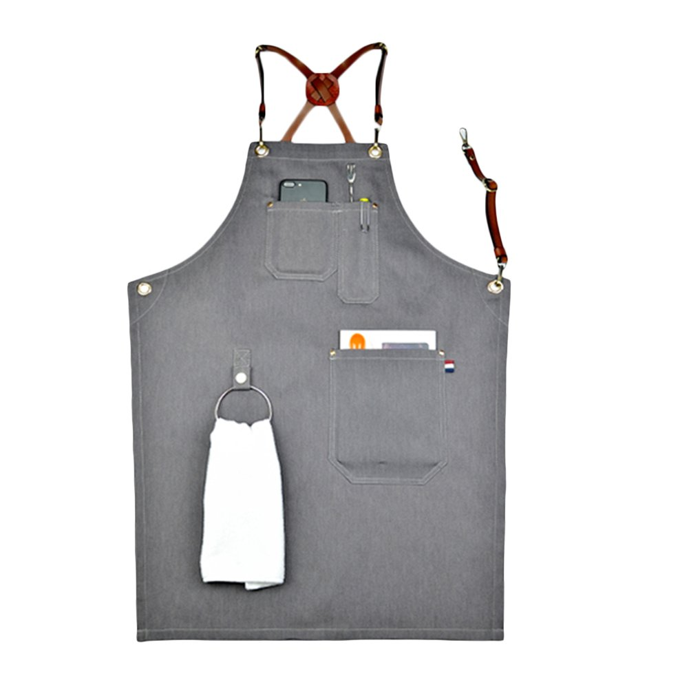 Home-organizer Tech Multi-Use Detachable Tool Apron Heavy Duty Denim Jean Work Apron Salon Barber Hairdressers Apron BBQ Gril Housewife Apron with Pockets, Adjustable for Men & Women (Type B)