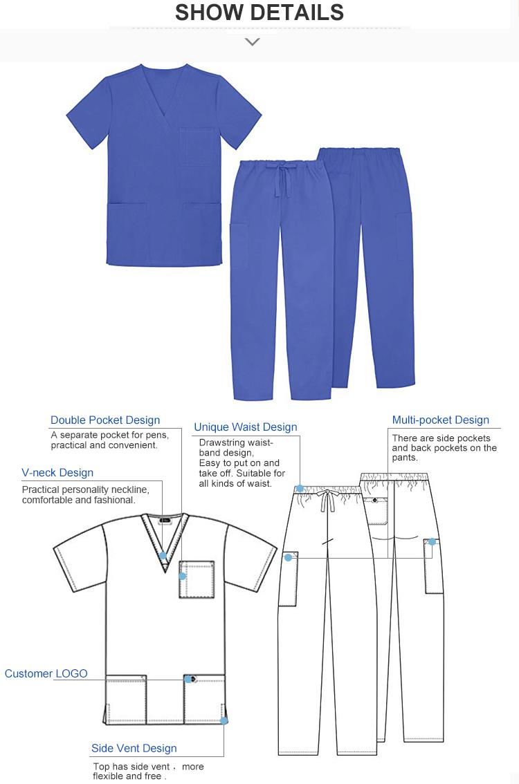 Groothandel V-hals unisex verpleging scrubs medische uniformen/medische scrubs