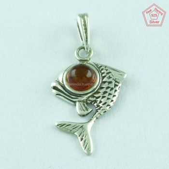 925 sterling silver fish pendantamber stone pendantindian silver 925 sterling silver fish pendant amber stone pendant indian silver jewelry aloadofball Image collections