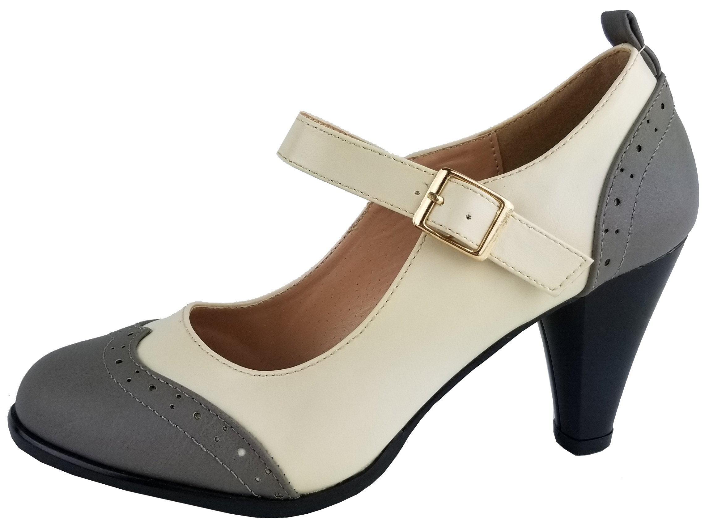 5898aac5f81 Get Quotations · Chase   Chloe Dora-2 Women s Round Toe Two Tone Mary Jane  Pumps