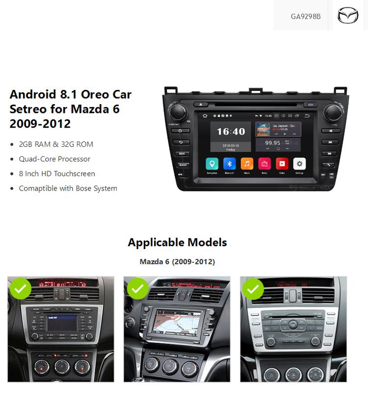 Eonon Ga9298b Android 8 1 For Mazda 6 2009 2010 2011 2012 8 Inch Multimedia  Car Dvd Gps - Buy Gps Box Android,Android Car Dvd For Mazda 6,Android Gps