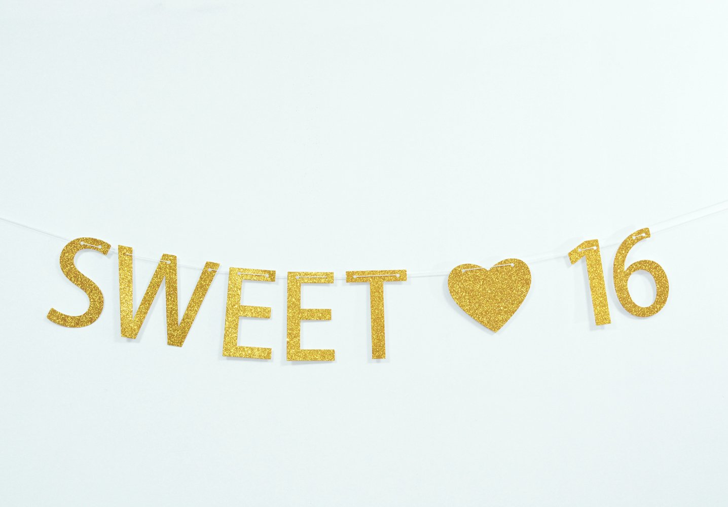 Get Quotations Firefairy Sweet 16 Gold Glitter 16th Birthday Banner Sixteen Decorations Party Favors