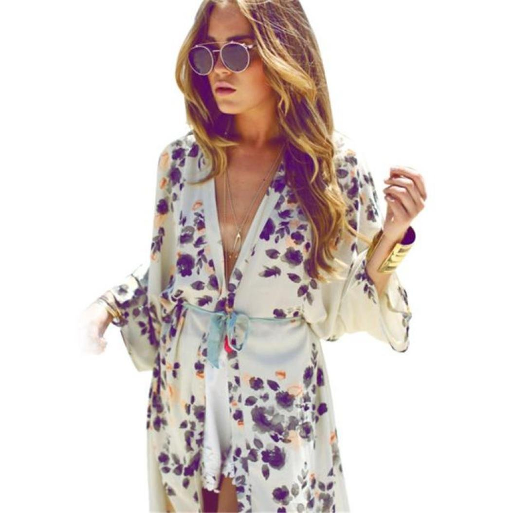 Cardigans,FUNIC Womens Chiffon Kimono Cardigans Floral Printed Coat Tops Blouse Cover up (M, White)