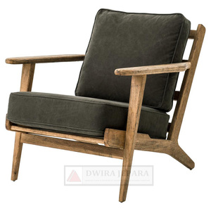 Living Room Chairs With Antique Teak Wood Mid-Century Furniture Style