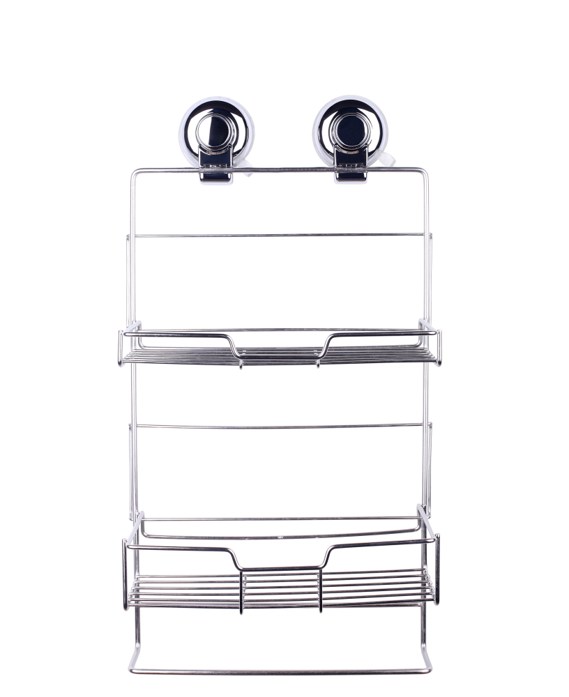Chrome Plated 2 Tier Bath Corner Rack Shower Caddy Trigger Suction Cups 25x12x47.5cm