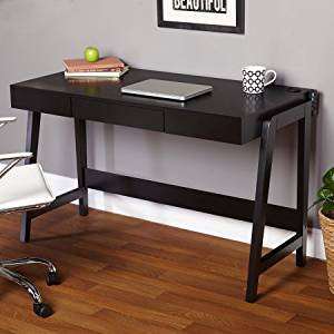 "Glossy Office Desk, Desk with USB Ports, Office in Multiple Finishes, Home and Office Computer Desk/Table with Spacious Desktop and a Drawer, Bundle with Expert Guide ""Quality in Our Life"" (Black)"
