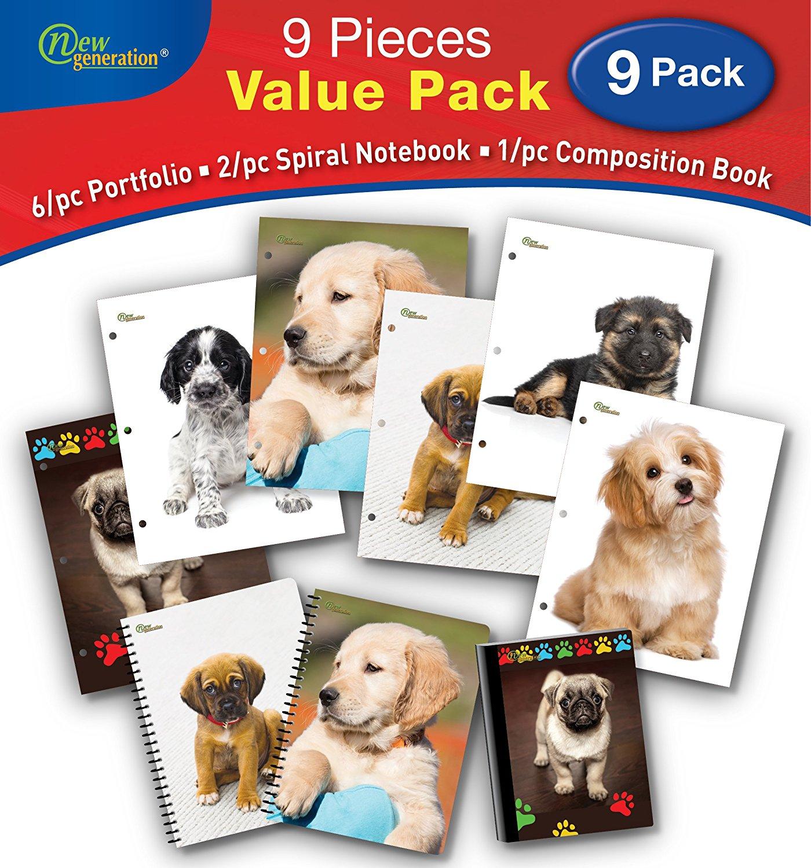 New Generation - Puppies - 9/PC Bundle Value Pack Contain, 6/pc Folders, 2/pc Spiral Notebooks,1/pc Composition Book - 9/pcs Bundle Set, (Wide Ruled 9 Piece Value Pack)