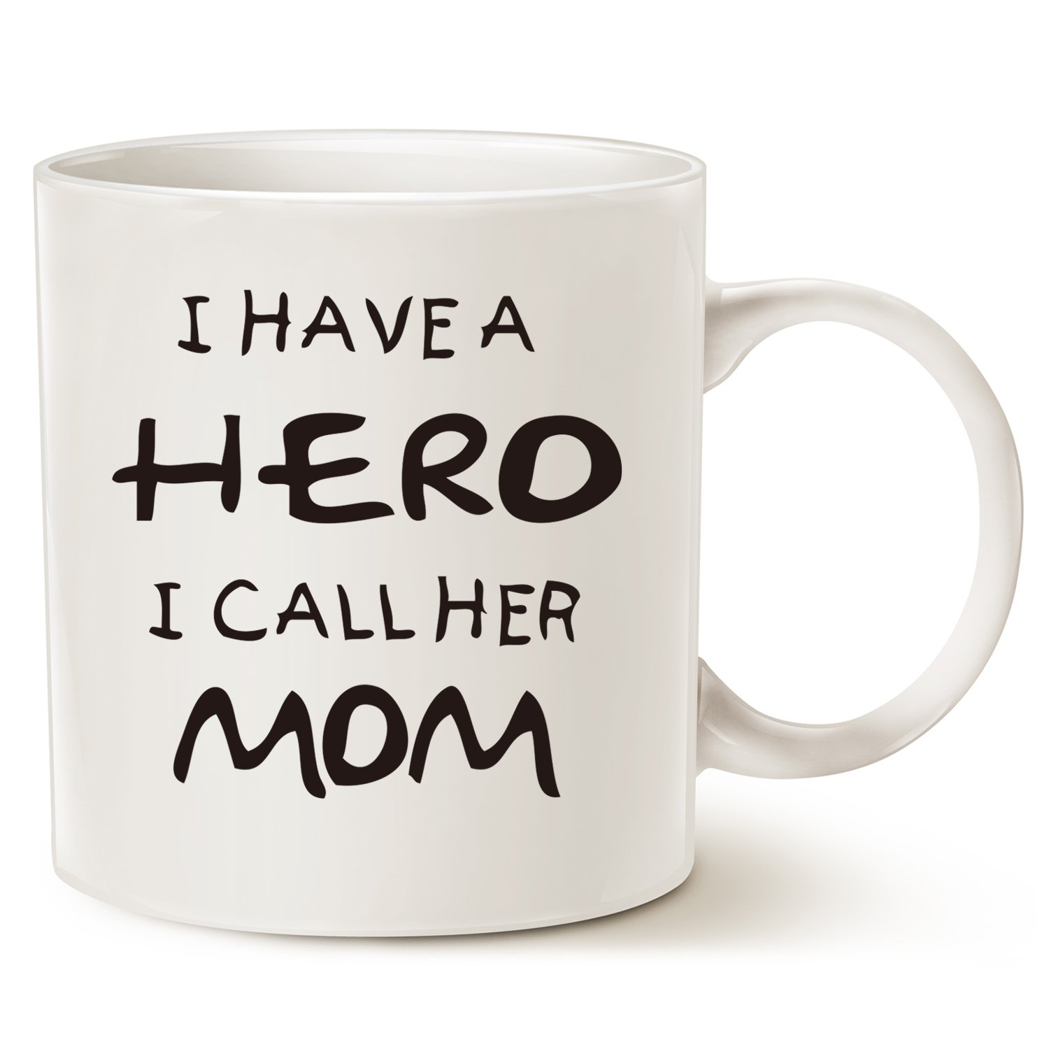 Mother's Day Gifts for Mom Coffee Mug - I HAVE A HERO I CALL HER MOM - Funny Best Mother's Day and Birthday Gifts for Mom, Mother, Grandma Porcelain Cup, White 14 Oz by LaTazas