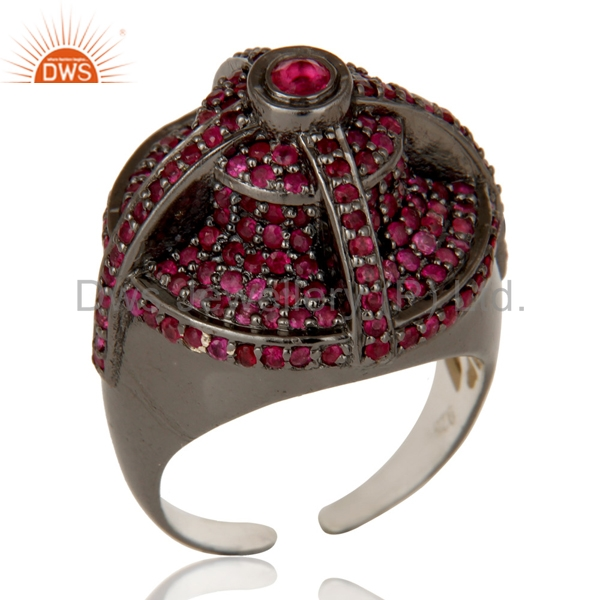 Handmade 925 Sterling Silver Women Ring Natural Ruby Gemstone Engagement Ring Jewelry Supplier