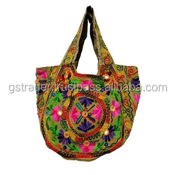 Handmade Floral hand bag Applique bag Work Gray And Black Cotton Girl Crossbody tote bag