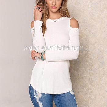 fbf951aba1babc High Fashion Supplier Women OEM Manufacturer For Women White Knit Cold  Shoulder Tops
