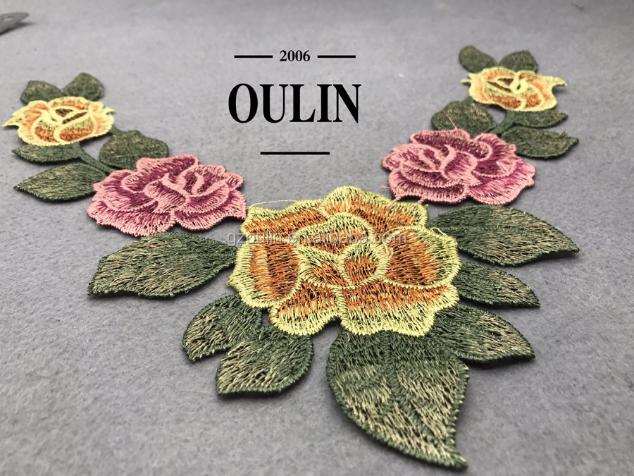 Collar type flower patches hot selling models flower type collar appliques used on garments for woman