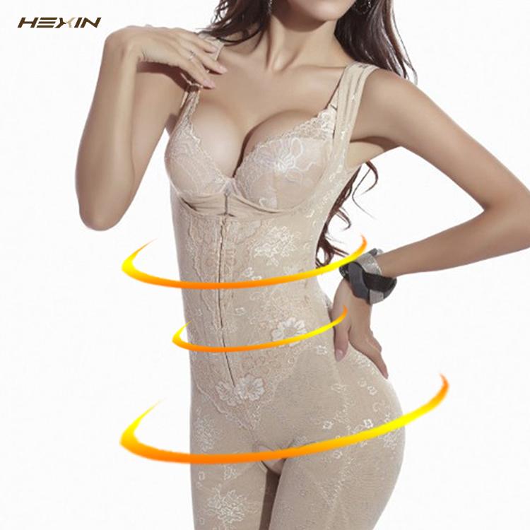 Dreamingirl New Arrival Tummy Control Nude Floral Lace Postpartum Bodysuit Mesh Zipper Full Body Shaper фото