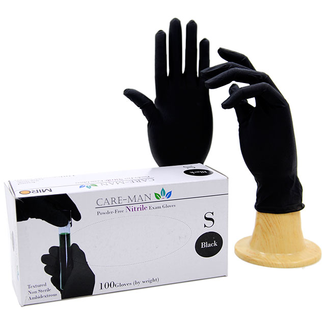 Disposable nitrile powder-free gloves black
