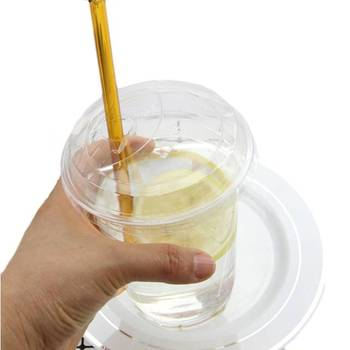 Reusable 16oz Plastic Clear Drinking PET Cups With Dome Lids