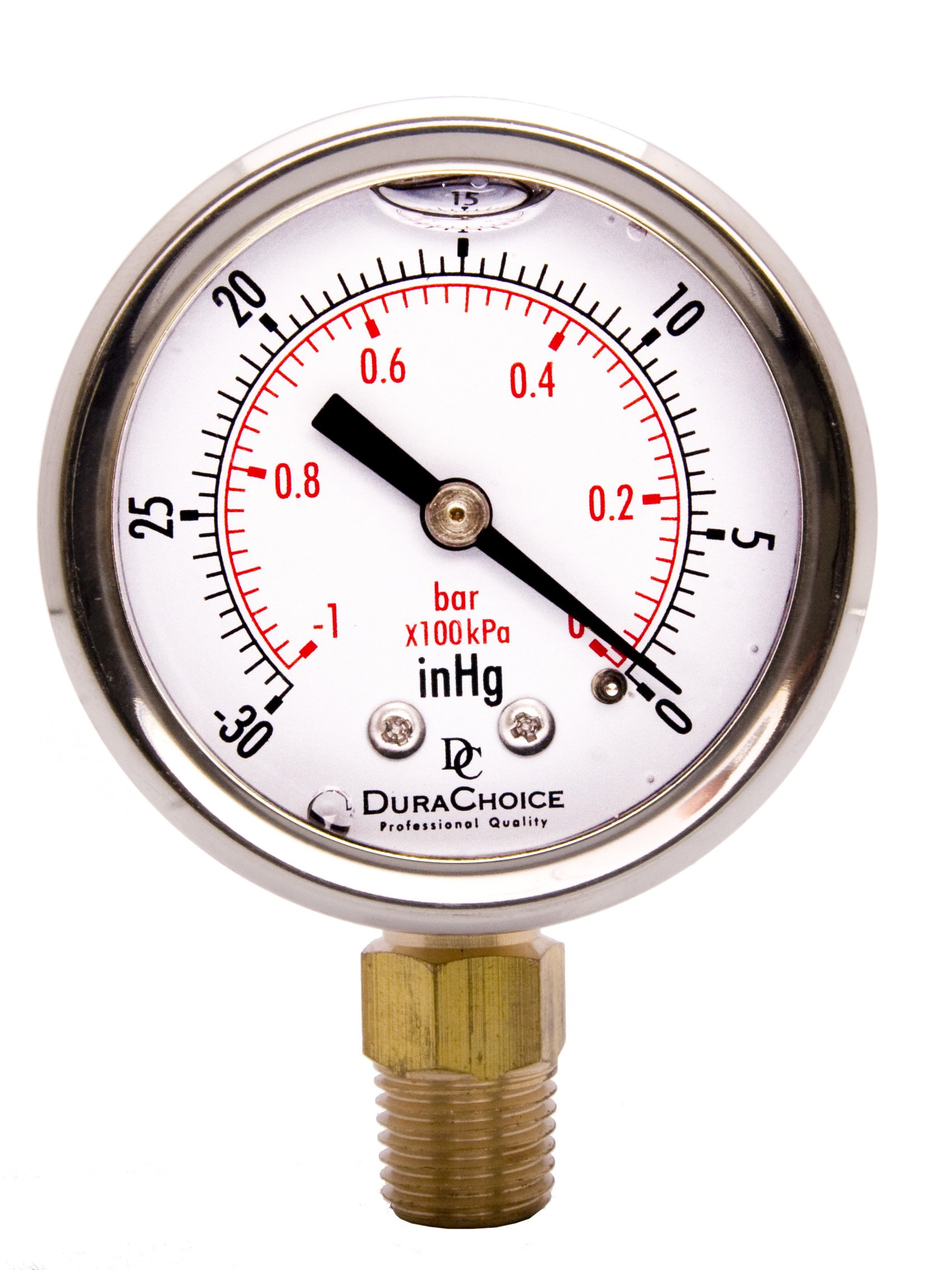 "2"" Oil Filled Vacuum Pressure Gauge for air compressor water oil gas - Stainless Steel Case, Brass, 1/4"" NPT, Lower Mount Connection, -30HG/0"