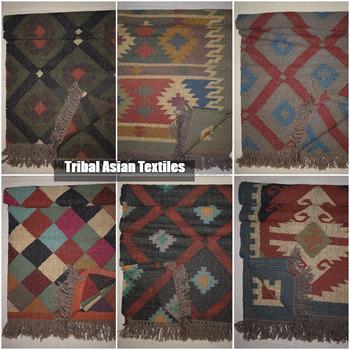 Wholesale Cotton Jute Print Durry Rug Carpet Made Of Cotton India